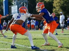 University of Florida receiver Trevon grimes goes up against defensive back Brian Edwards in a one-on-one drill during spring football- Florida Gators football- 1280x853