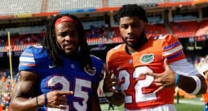 University of Florida running backs Jordan Scarlett and Lamical Perine pose for a picture after the Florida Gators spring game in 2018- Florida Gators baseball- 1280x853