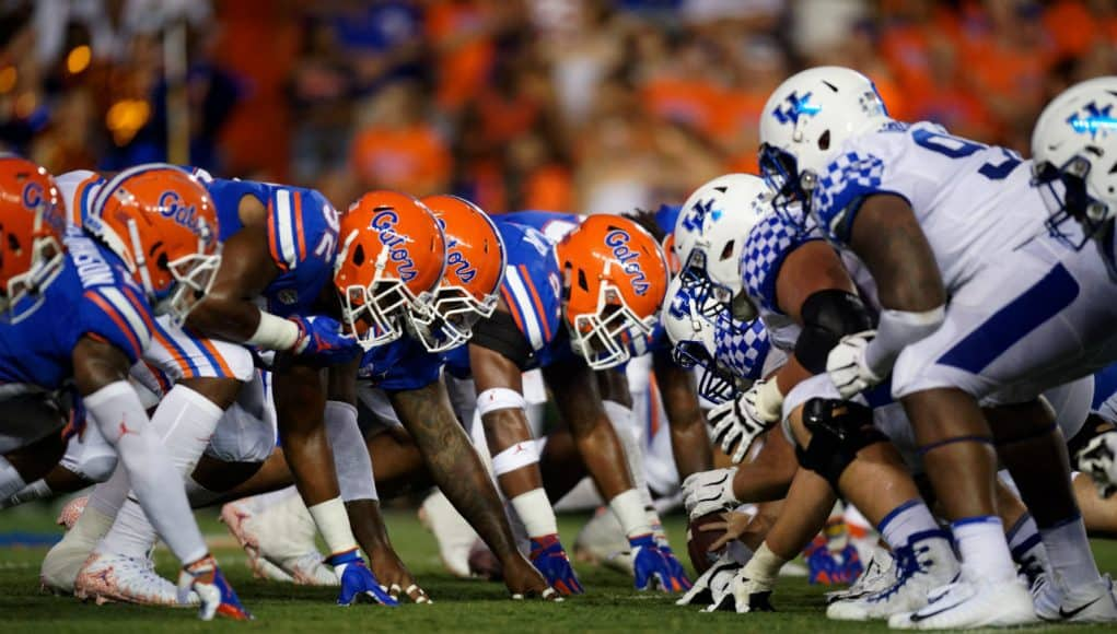 Florida Gators defensive line goes against Kentucky- 1280x853