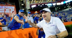 Florida Gators head coach Dan Mullen celebrates after his season debut win- 1280x852