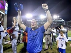 Florida Gators head coach Dan Mullen celebrates the win over Mississippi State- 1280x854