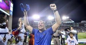 Florida Gators head coach Dan Mullen celebrates the win over Mississippi State- 1280x854