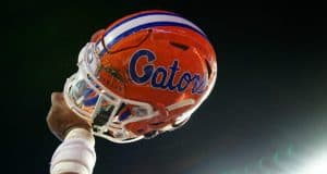 Florida Gators helmet raised in the air after defeating Charleston Southern- 1280x852