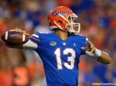 Florida Gators quarterback Feleipe Franks throws a pass against Kentucky- 1280x853