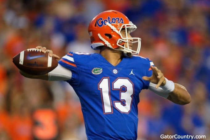 Florida Gators quarterback Feleipe Franks throws a pass against Kentucky- 1280x853