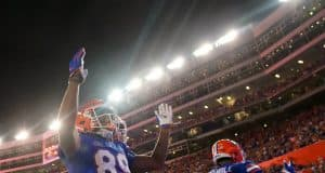 Florida Gators receiver Tyrie Cleveland celebrates a touchdown- 1280x852