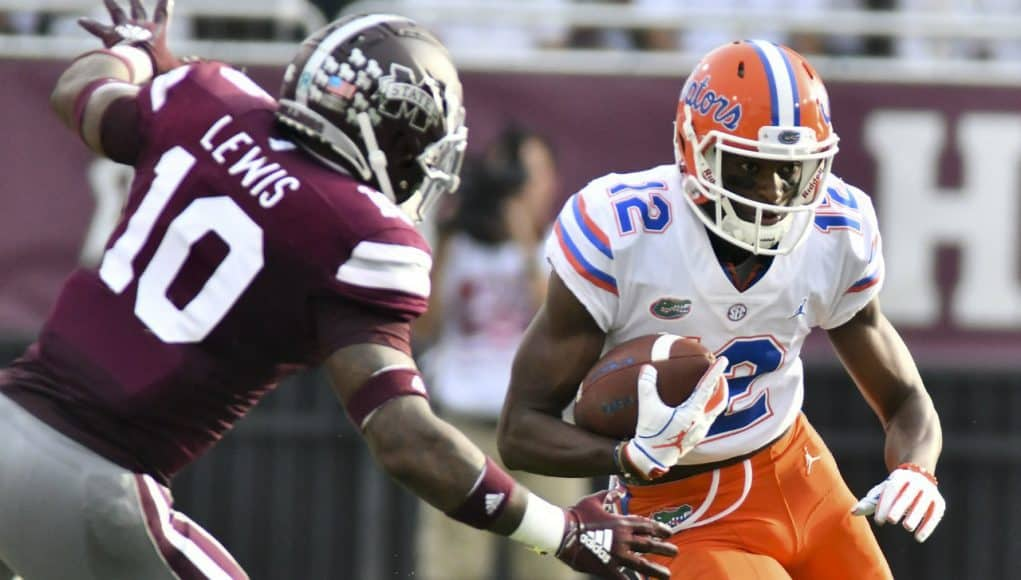 Florida Gators receiver Van Jefferson runs against Mississippi State after catching a pass- 1280x853