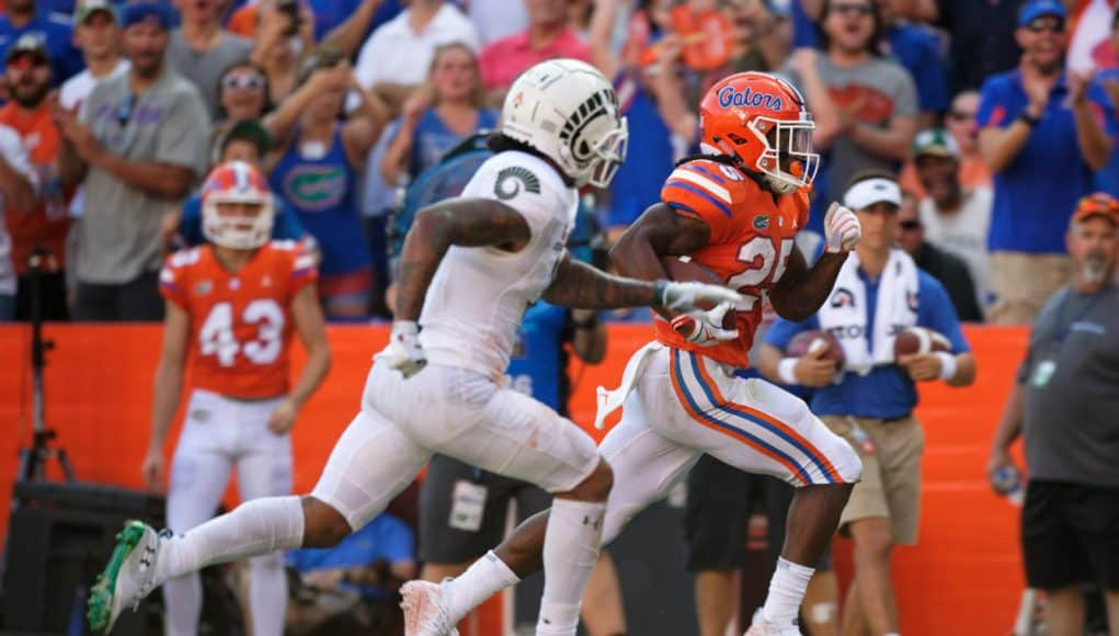Florida Gators running back Jordan Scarlett runs against Colorado State- 1280x853