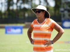 Florida Gators soccer coach Becky Burliegh watched as Florida takes on LSU- 1280x853