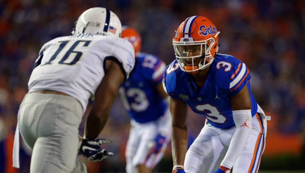University of Florida cornerback Marco Wilson lines up in coverage during the Florida Gators 53-6 win over Charleston Southern- Florida Gators football- 1280x853