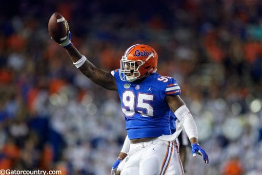 University of Florida defensive lineman Adam Shuler reacts after recovering a fumble against Charleston Southern– Florida Gators football- 1280x853