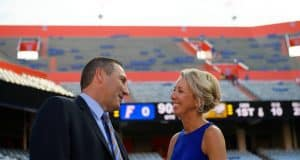 University of Florida head coach Dan Mullen and his wife Megan before the Florida Gators first game in 2018 against Charleston Southern- Florida Gators football- 1280x853