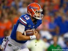 University of Florida quarterback Feleipe Franks carries the ball against the Kentucky Wildcats on September, 8 2018- Florida Gators football- 1280x854