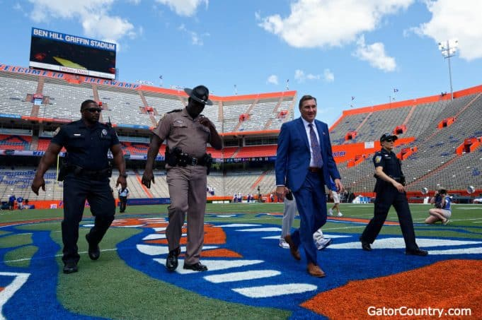 Dan Mullen enters the Swamp before the LSU game in 2018- 1280x852