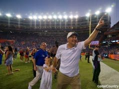 Florida Gators head coach Dan Mullen celebrates the win over LSU- 1280x852