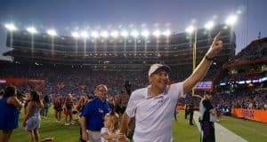 Florida Gators head coach Dan Mullen celebrates the win over LSU- 1280x852