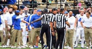 Florida Gators head coach Dan Mullen yells at Vanderbilt coach Derek Mason- 1280x800