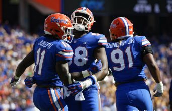 Florida Gators linebacker Vosean Joseph celebrates a sack against LSU-1280x853