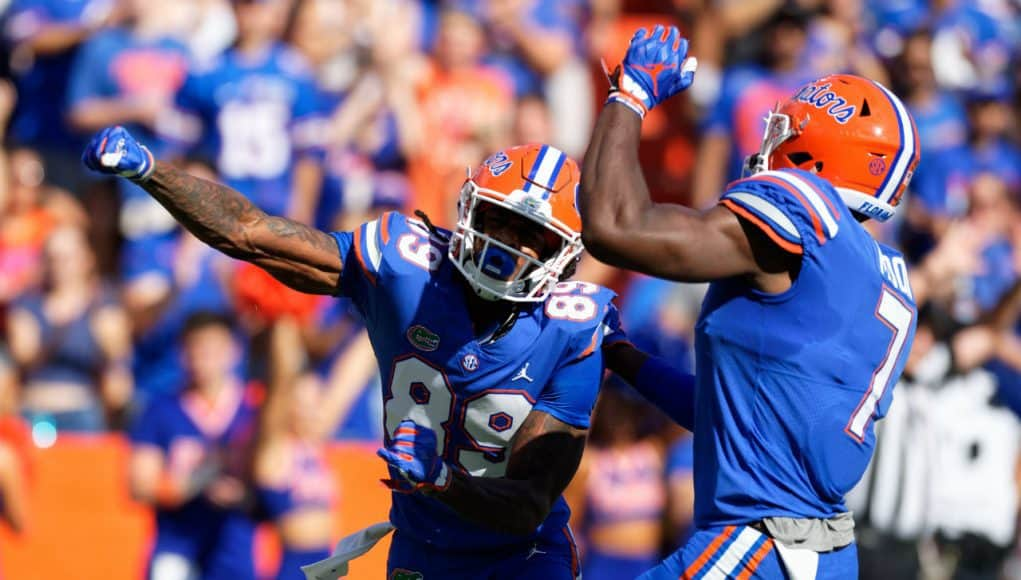 Florida Gators receiver Tyrie Cleveland and Jeremiah Moon celebrate against LSU- 1280x853