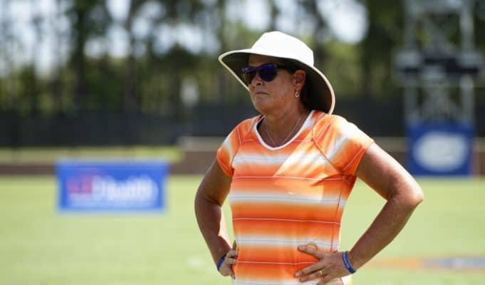 Florida Gators soccer coach Becky Burleigh watches on in 2018- 1280x853