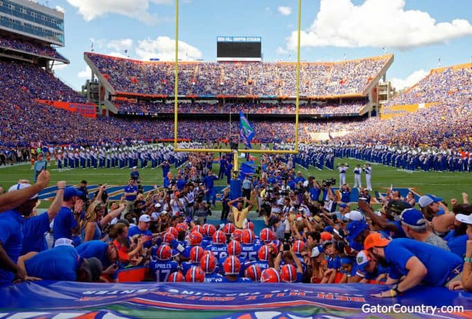 The Florida Gators exit the tunnel before the LSU game 2018- 1280x866