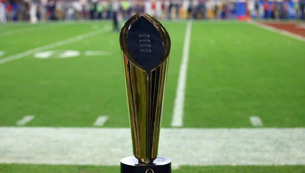 December 31, 2016; Glendale, AZ, USA; General view of the College Football Playoff championship trophy during the game between the Clemson Tigers and Ohio State Buckeyes at University of Phoenix Stadium. Mandatory Credit: Matthew Emmons-USA TODAY Sports