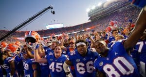 University of Florida football players celebrate beating No. 5 LSU by singing the fight song with the band- Florida Gators football- 1280x852