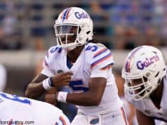 University of Florida quarterback Emory Jones makes a call at the line of scrimmage in a loss to Georgia- Florida Gators football- 1280x854