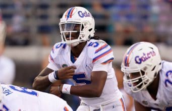 University of Florida quarterback Emory Jones makes a call at the line of scrimmage in a loss to Georgia- Florida Gators football- 1280x854