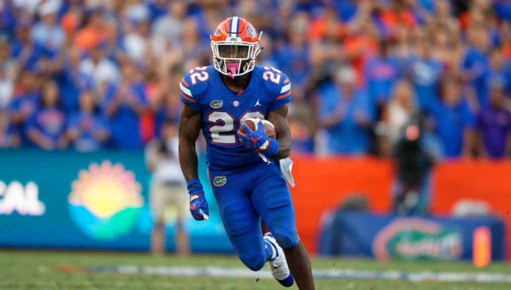 University of Florida running back Lamical Perine breaks free during the Gators 27-19 win over LSU at Ben Hill Griffin Stadium- Florida Gators football- 1280x853