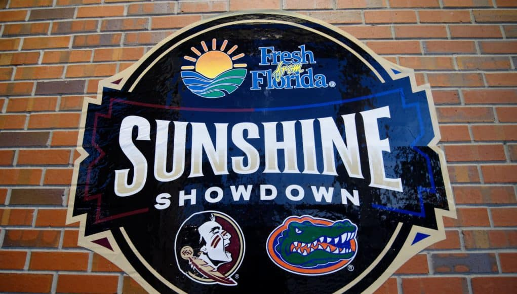 A sign outside of Ben Hill Griffin Stadium promoting the Sunshine Showdown between the Florida Gators and Florida State Seminoles- Florida Gators football- 1280x852
