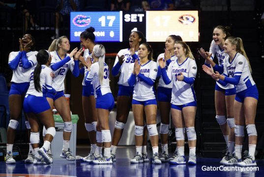 Florida Gators Volleyball celebrates a win in 2018- 1280x853