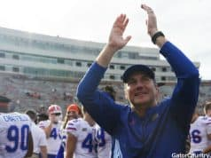 Florida Gators head coach Dan Mullen celebrates after defeating FSU- 1280x852