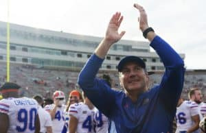 Florida Gators head coach Dan Mullen celebrates after defeating FSU- 1280x852