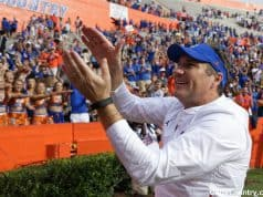 Florida Gators head coach Dan Mullen does the Gator Chomp after South Carolina- 1280x852