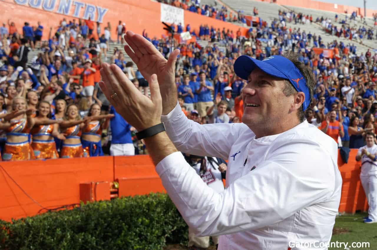 Florida-gators-head-coach-dan-mullen-does-the-gator-chomp-after-south-carolina