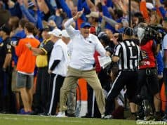 Florida Gators head coach Dan Mullen reacts to a call during the Missouri game- 1280x853