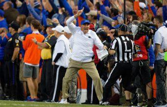 Florida Gators head coach Dan Mullen reacts to a call during the Missouri game- 1280x853