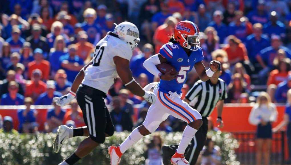 Florida Gators quarterback Emory Jones runs against Idaho in the Swamp- 1280x853