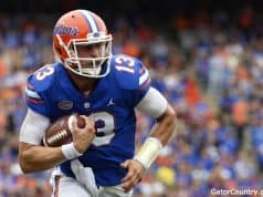 Florida Gators quarterback Feleipe Franks runs against South Carolina- 1280x853