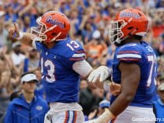 Florida Gators quarterback Feleipe Franks tells the crowd to be quiet- 1280x853