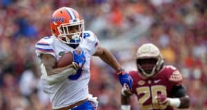 Florida Gators receiver Trevon Grimes runs against Florida State 2018- 1280x853