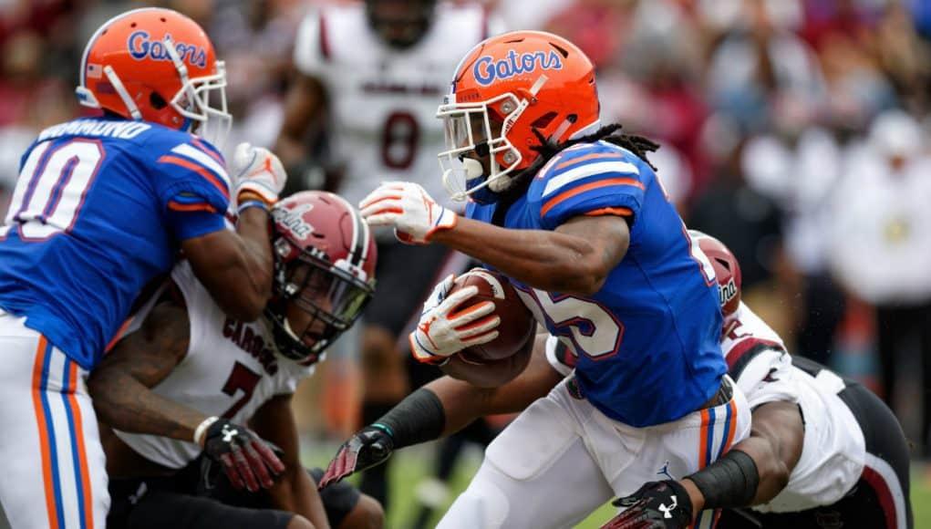 Florida Gators running back Jordan Scarlett runs against South Carolina- 1280x853