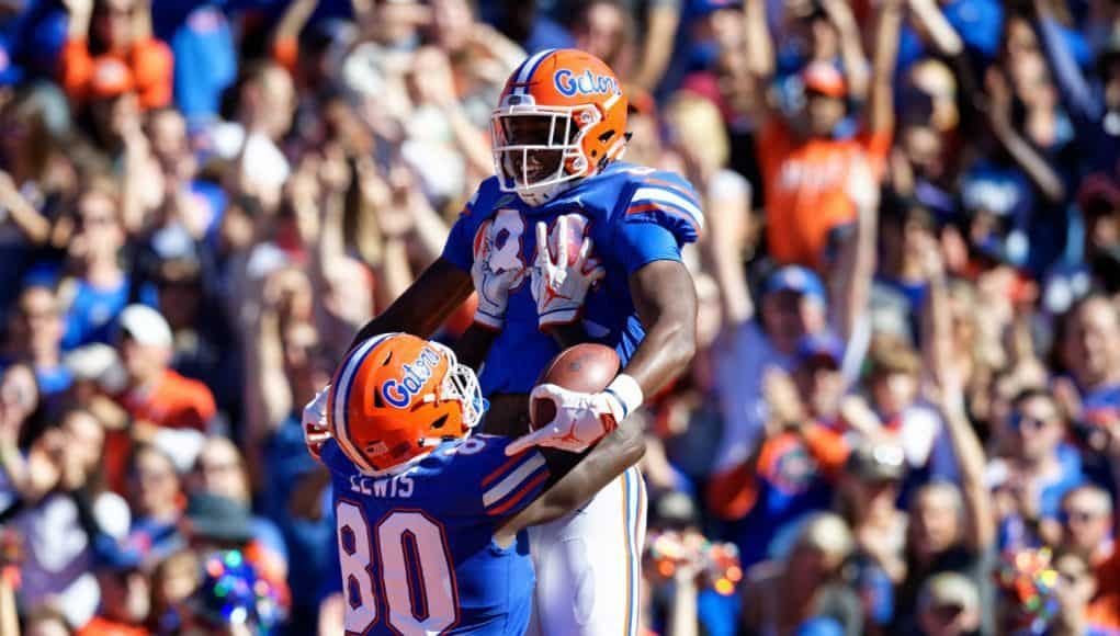 Florida Gators tight ends Kyle Pitts and Cyontai Lewis celebrate Pitts touchdown- 1280x853