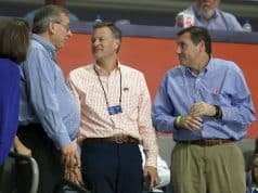 Dec 20, 2017; Gainesville, FL, USA; Florida Gators president Kent Fuchs, athletic director Scott Stricklin, and head football coach Dan Mullen talks during the second half against the James Madison Dukes at Exactech Arena at the Stephen C. O'Connell Center. Mandatory Credit: Kim Klement-USA TODAY Sports