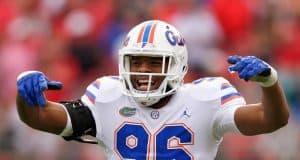 University of Florida defensive lineman CeCe Jefferson celebrates a tackle against the Georgia Bulldogs- Florida Gators football- 1280x853
