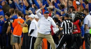 University of Florida head football coach Dan Mullen reacts to a call during a 38-17 loss to the Missouri Tigers- Florida Gators football- 1280x853