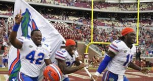 University of Florida players Umstead Sanders, Chauncey Gardner and Vosean Joseph celebrate the Florida Gators 41-14 win over FSU- Florida Gators football- 1280x852