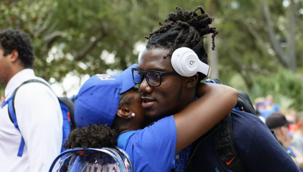 University of Florida quarterback Emory Jones hugs his mother during Gator Walk before the Florida Gators game against Colorado State- Florida Gators football- 1280x853