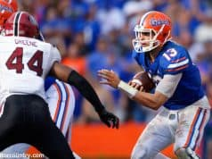 University of Florida quarterback Feleipe Franks rushes for a one yard touchdown to take a 35-31 lead over South Carolina- Florida Gators football- 1280x853